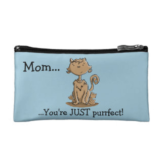 Cute Mommy Cat and Kittens Makeup Bags