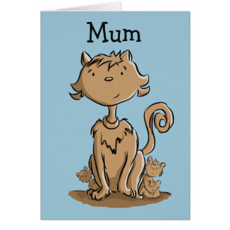 Cute Mommy Cat and kittens Greeting Card