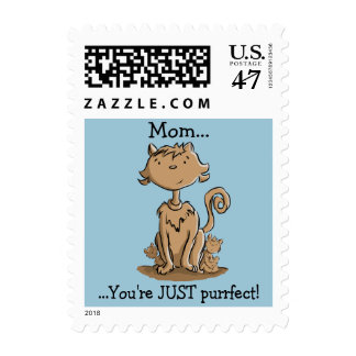 Cute Mommy Cat and kittens Postage