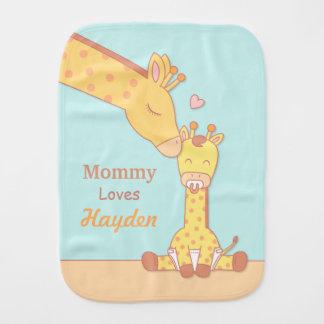 Cute Mommy Giraffe and Calf Baby Burp Cloth