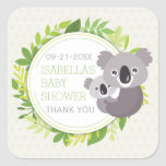 Cute Mommy Koala & Baby Koala Baby Shower Square Sticker