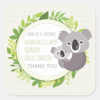 Cute Mommy Koala & Baby Koala Baby Shower Square Sticker