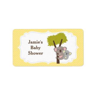 Cute Mommy Koala Bear Baby Shower Party Label