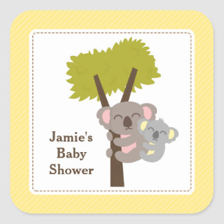 Cute Mommy Koala Bear Baby Shower Party Square Stickers