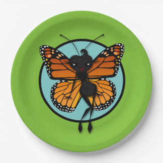 CUTE MONARCH BUTTERFLY LADY PAPER PLATES