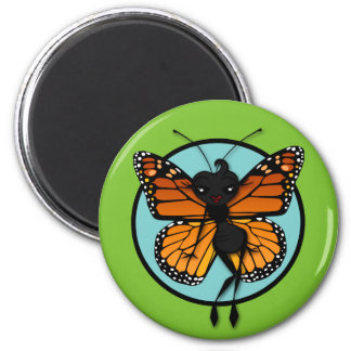 CUTE MONARCH BUTTERFLY LADY ROUND MAGNET