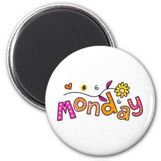 Cute Monday Week Day Greeting Text Expression 2 Inch Round Magnet