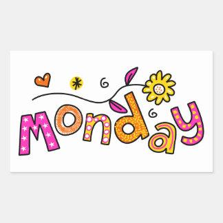 Cute Monday Week Day Greeting Text Expression Rectangular Sticker