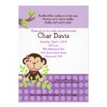Cute Monkey Baby Shower Invitation Girly Purple