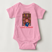 Cute Monkey Back to School Reading Baby Bodysuit