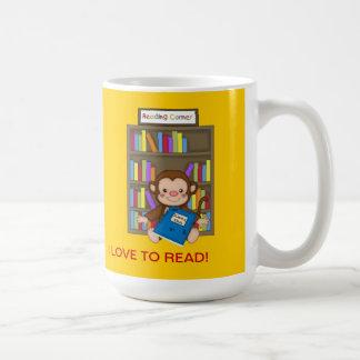 Cute Monkey Back to School Reading Coffee Mug