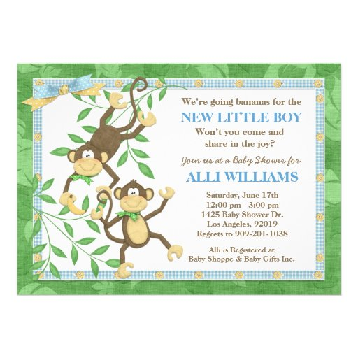 Monkey Baby Shower Invitations For Girl was amazing invitations layout