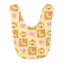 Cute Monkey Banana Heart Pattern Baby Bib