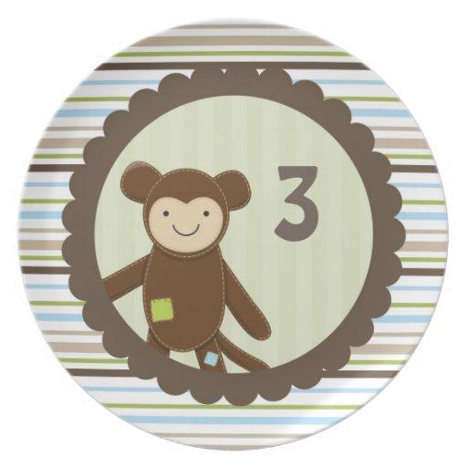 Cute Monkey Birthday Plate