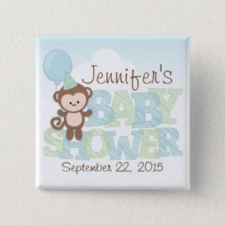 Cute Monkey; Blue & Green Baby Shower Button