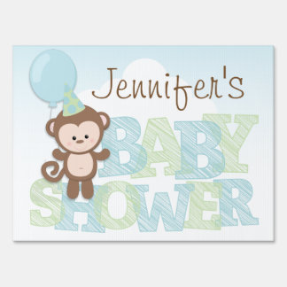 Cute Monkey; Blue & Green Baby Shower Lawn Sign