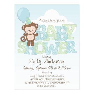 Cute Monkey; Blue & Green Baby Shower Postcard