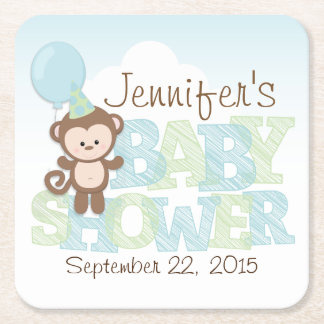 Cute Monkey; Blue & Green Baby Shower Square Paper Coaster