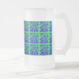 Cute Monkey Blue Lime Green Animal Pattern Frosted Glass Beer Mug