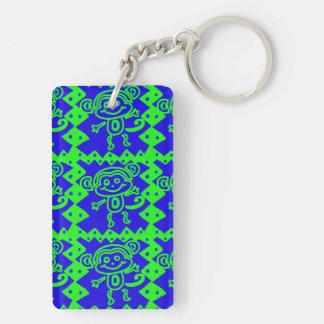 Cute Monkey Blue Lime Green Animal Pattern Keychain