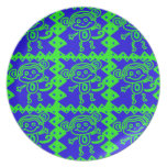 Cute Monkey Blue Lime Green Animal Pattern Dinner Plates