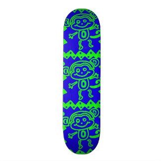 Cute Monkey Blue Lime Green Animal Pattern Skateboard Deck