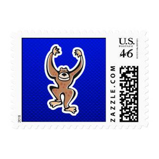Cute Monkey; Blue Stamp