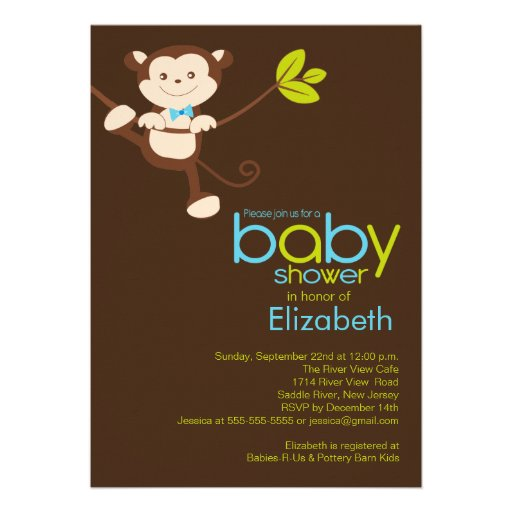 cute monkey boy baby shower invitation 5 x 7 invitation card
