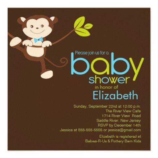 Cute monkey boy baby shower invitation square invitation card zazzle - Baby shower monkey pictures ...