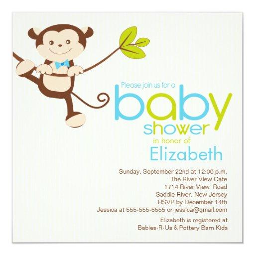 Cute Monkey Boy Baby Shower Invitation