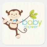 Cute Monkey Boy Baby Shower Sticker