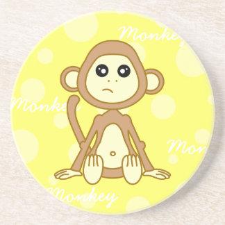 Cute Monkey Boy Cartoon Drink Coaster