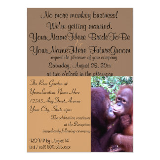 """Cute Monkey Business We're Getting Married 5.5"""" X 7.5"""" Invitation Card"""