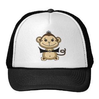 cute monkey cartoon, lovable animal. hats