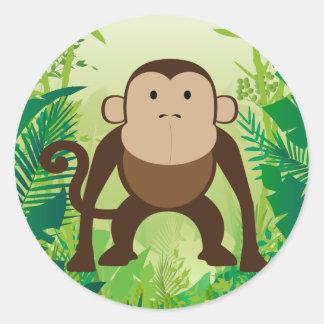 Cute Monkey Classic Round Sticker