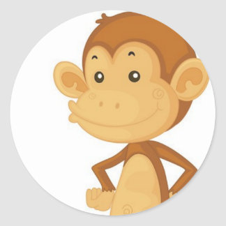cute monkey classic round sticker