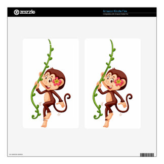 Cute monkey climbing the vine decal for kindle fire