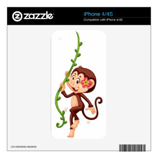 Cute monkey climbing the vine skin for the iPhone 4S