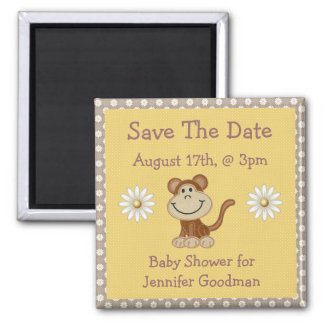 Cute Monkey & Daisies Save The Date Baby Shower Magnet