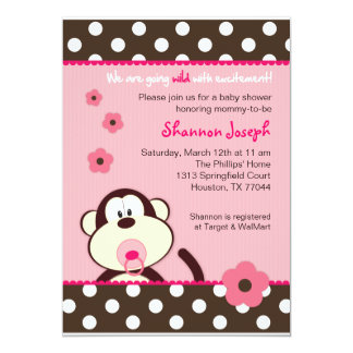 Cute Monkey Dots Baby Shower Invitation