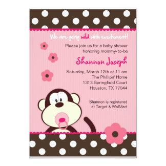 Cute Monkey Dots Baby Shower Invitation