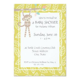 Cute Monkey Gender Neutral Baby Shower Invitations