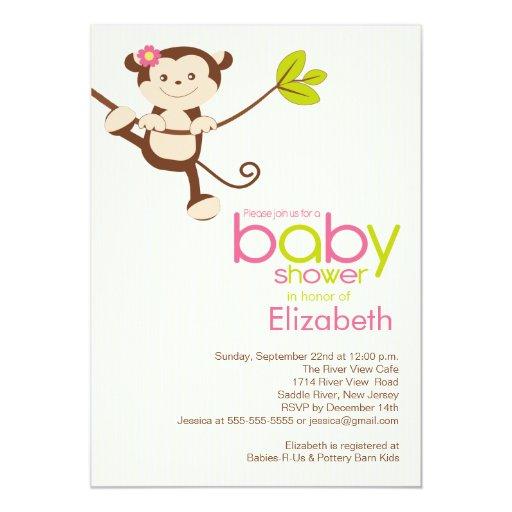 cute monkey girl baby shower invitation zazzle