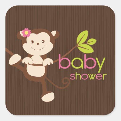 cute monkey girl baby shower sticker zazzle