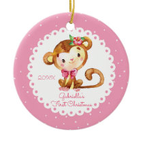 Cute Monkey Girl Baby's First Christmas Ornament
