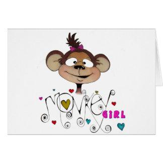 Cute Monkey Girl Card