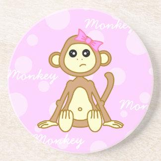 Cute Monkey Girl Cartoon Beverage Coaster