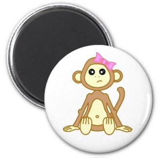 Cute Monkey Girl Cartoon Magnet