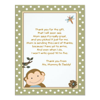 Cute Monkey Green/Brown Thank you cards