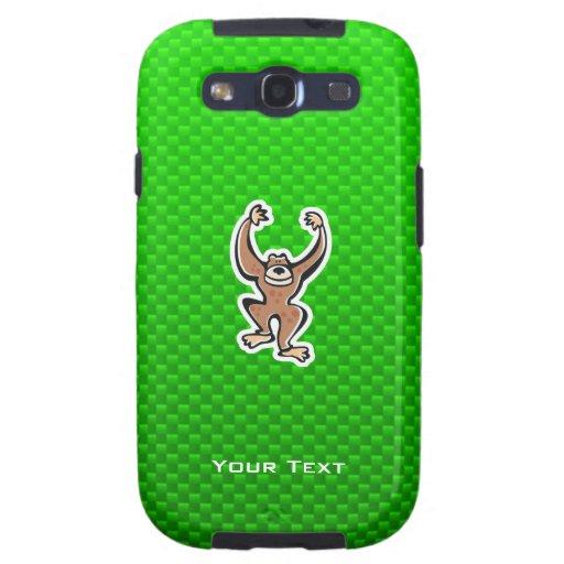 Cute Monkey; Green Galaxy S3 Cover